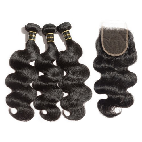 【Crystal 6A】 3 Bundles Body Wavy 6A Brazilian Virgin Hair 300g With 4*4 Body Wavy Free Part Closure