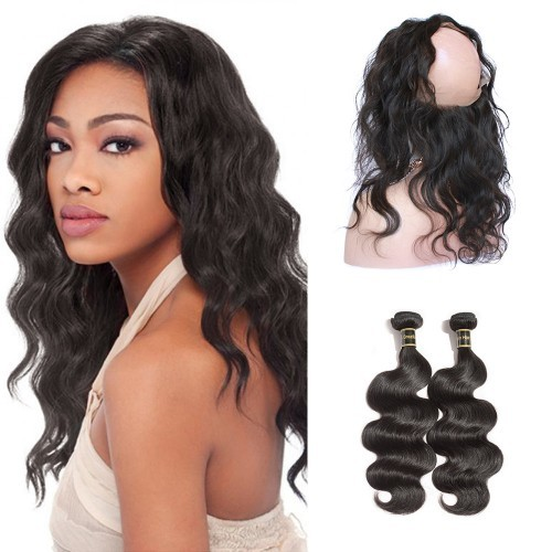 【Crystal 6A】 360 Lace Frontal Band with 2 Bundles Body Wavy 6A Brazilian Virgin Hair