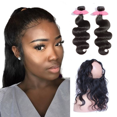 【Platinum 7A】 360 Lace Frontal Band with 2 Bundles Body Wavy 7A Brazilian Virgin Hair