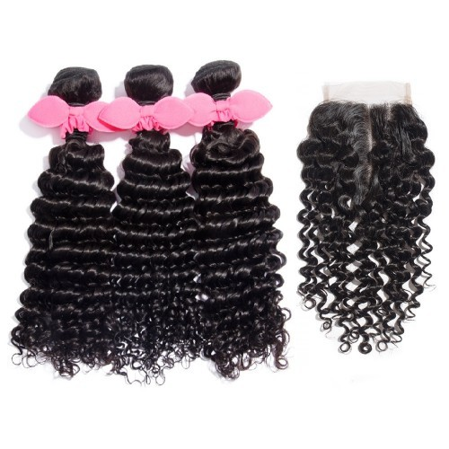 【Platinum 7A】 3 Bundles Deep Curly Brazilian Virgin Hair 300g With 4*4 Deep Curly Middle Part Lace Closure