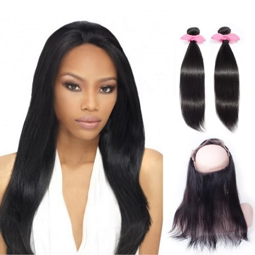 【Platinum 7A】 360 Lace Frontal Band with 2 Bundles Straight 7A Brazilian Virgin Hair