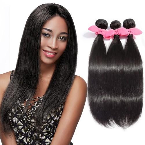 "【Platinum 7A】 10""-30"" 3 Bundles Straight Virgin Brazilian Hair Natural Black 300g"
