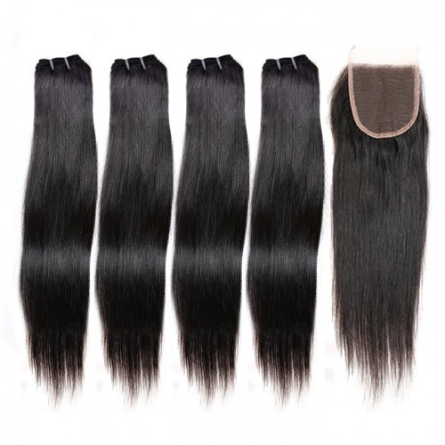 【Crystal 6A】 4 Bundles Straight Brazilian Virgin Hair 240g With 4*4 Straight Free Part Closure