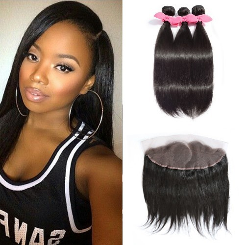 【Platinum 7A】 3 Bundles Straight Brazilian Virgin Hair 300g With Pre Plucked Left Side C Part 13x4 Lace Frontal