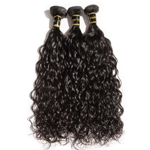 【Crystal 6A】 10-30 3 Bundles Natural Wavy 6A Virgin Brazilian Hair Natural Black 300g