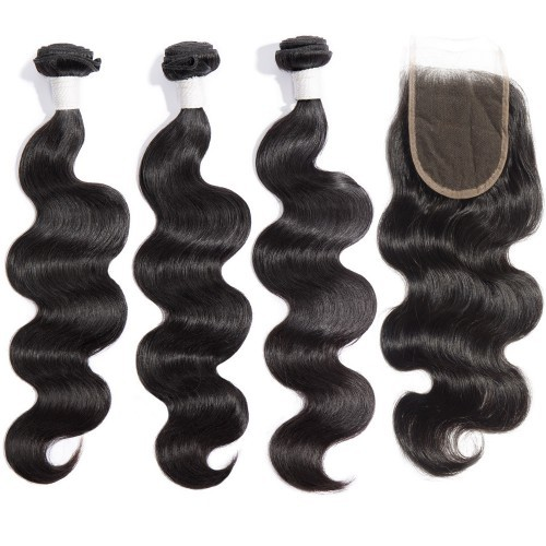 【Diamond 8A】 3 Bundles Body Wavy Diamond Virgin Hair 300g With 44 Body Wavy Free Part Lace Closure