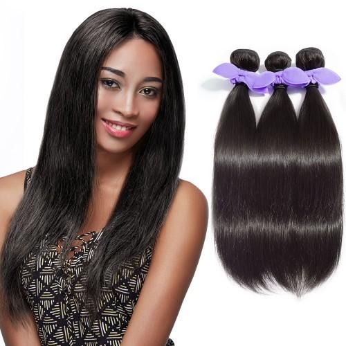 【Platinum 7A】 3 Bundles Straight 7A Malaysian Virgin Hair Natural Black 300g