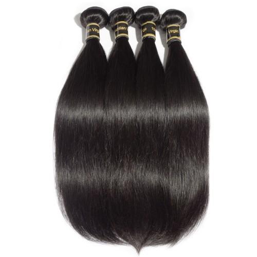 "【Crystal 6A】 10""-30"" 4 Bundles Straight 6A Virgin Brazilian Hair Natural Black 400g"