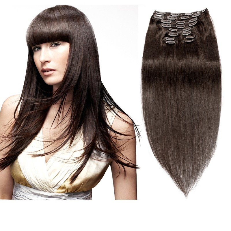【Deluxe】160g 20 Inch #2 Darkest Brown Straight Clip In Hair