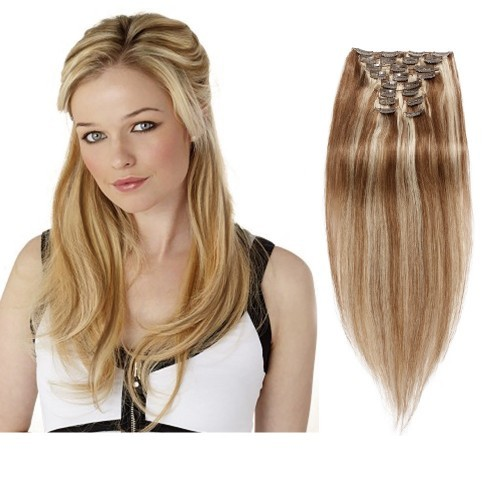 【Deluxe】 160g 20 Inch #8/613 Straight Clip In Hair
