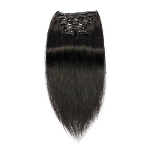 【Luxurious】 220g 24 Inch #1 Jet Black Straight Clip In Hair