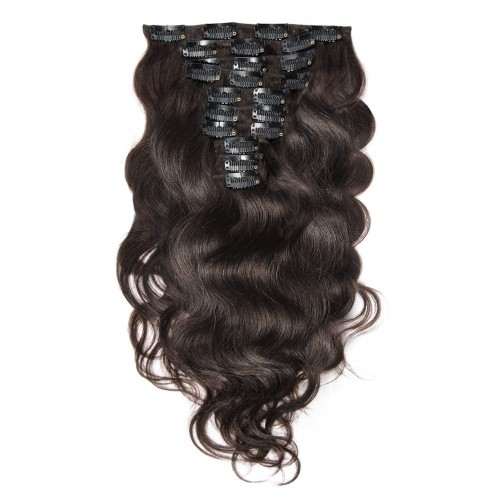 【Luxurious】 220g 24 Inch #2 Darkest Brown Body Wavy Clip In Hair